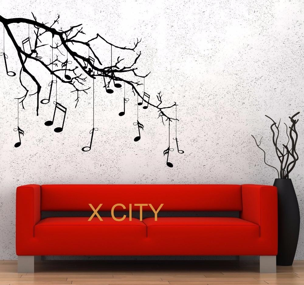 Aliexpress : Buy Music Tree Branch Notes Cool Creative Black Within Music Notes Wall Art Decals (View 7 of 20)