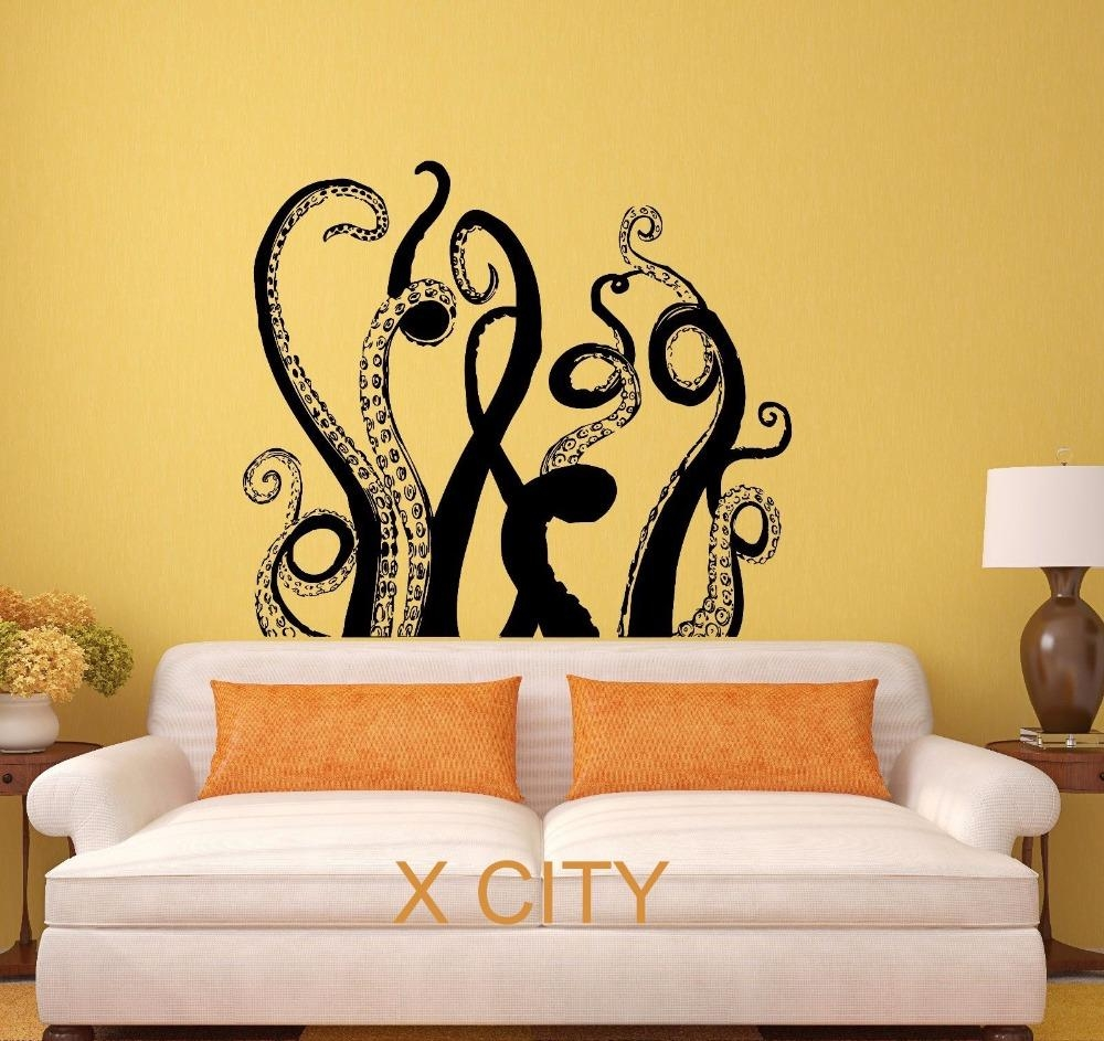Aliexpress : Buy Octopus Tentacles Sea Monster Black Wall Art Within Octopus Tentacle Wall Art (View 7 of 20)
