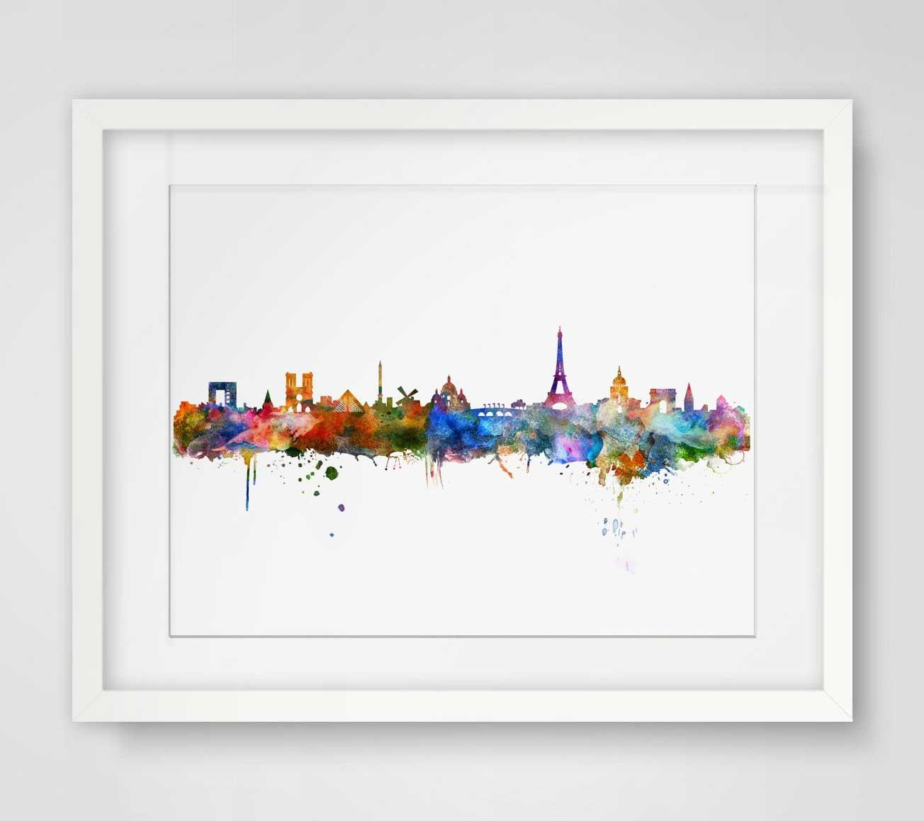 Aliexpress : Buy Paris Watercolor Skyline City Poster Map Within Map Of Paris Wall Art (Image 4 of 20)