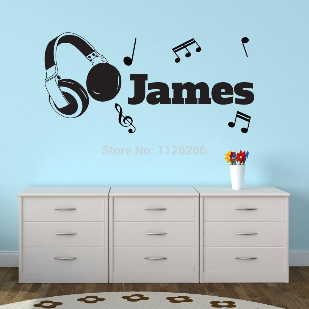 Aliexpress : Buy Personalised Customize Any Boys Name Vinyl For Music Notes Wall Art Decals (View 10 of 20)