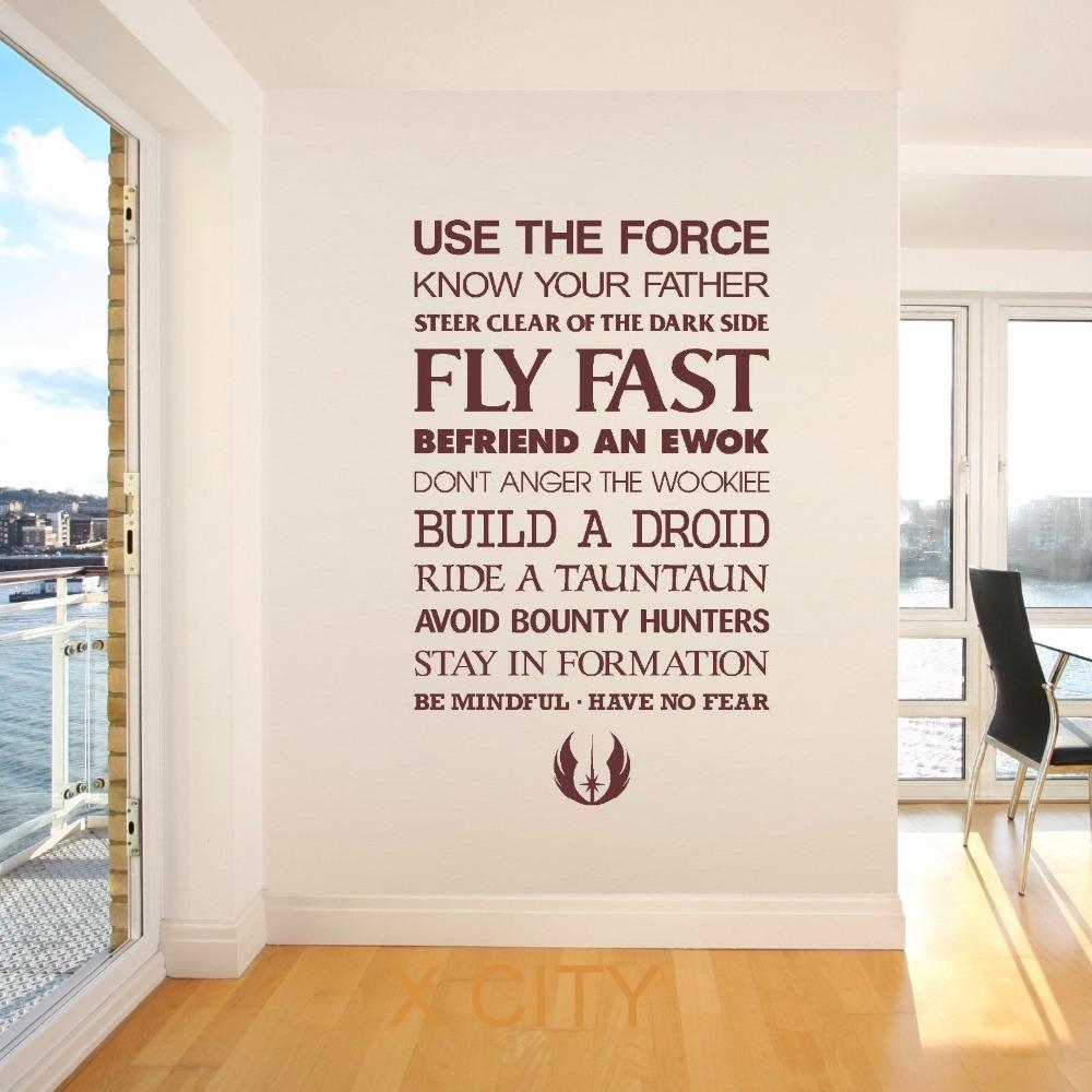 Aliexpress : Buy Star Wars Quote Use The Force Wall Art Throughout Diy Star Wars Wall Art (Image 3 of 20)
