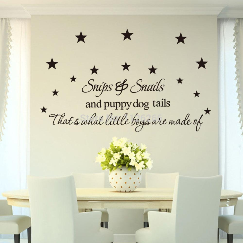 Aliexpress : Buy Wall Stickers Quotes Snips Snails And Puppy Intended For Dog Sayings Wall Art (View 14 of 20)