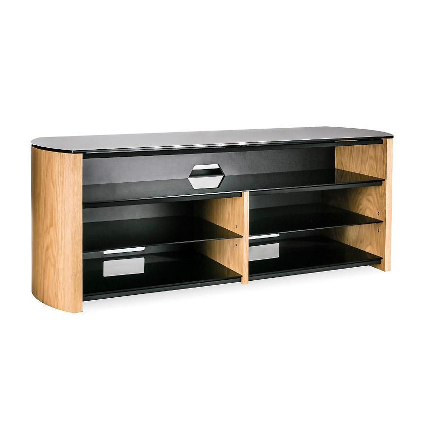 Alphason Finewoods Fw1350Sb Light Oak Soundbar Ready Tv Stand Within Most Up To Date Glass And Oak Tv Stands (Image 5 of 20)