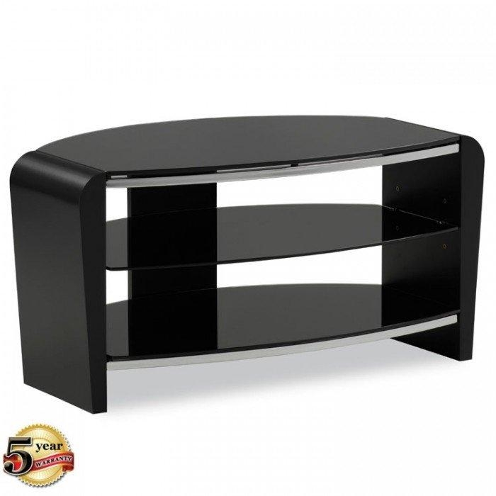 Alphason Francium Small Black Tv Stand – Frn800/3 Blk Throughout Recent Small Black Tv Cabinets (Image 2 of 20)
