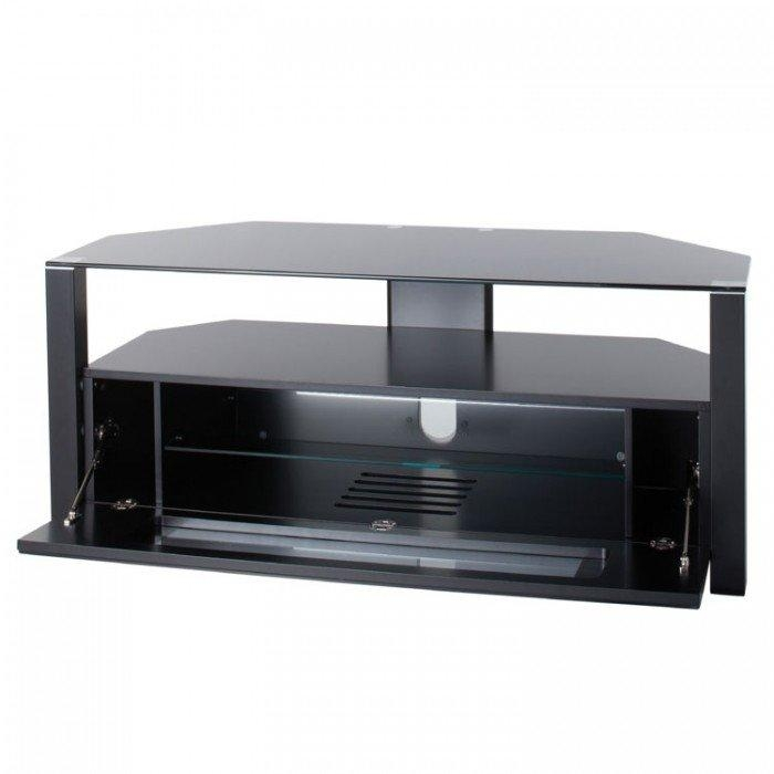 Alphason Large Ambri D Shaped Glass Corner Tv Cabinet – Abrd1100 B With Regard To Latest Black Corner Tv Cabinets With Glass Doors (Image 4 of 20)