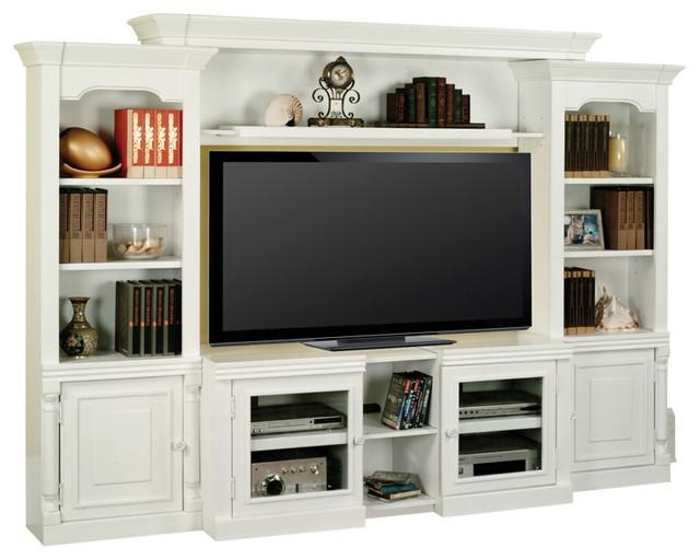 Alpine Entertainment Center With Expandable Tv Stand – Traditional Intended For Latest Entertainment Center Tv Stands (View 8 of 20)