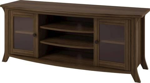 Altra Oakridge Homestead Oak Tv Stand With Glass Doors For Tvs Up Within Latest Wood Tv Stand With Glass (Image 2 of 20)