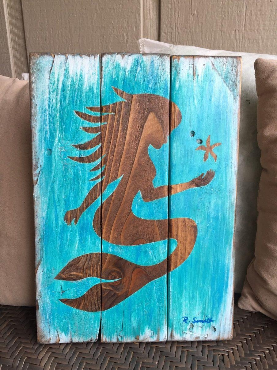 Amazing Wooden Mermaid Wall Art Custom Made Handmade Upcycled Throughout Mermaid Wood Wall Art (View 12 of 20)