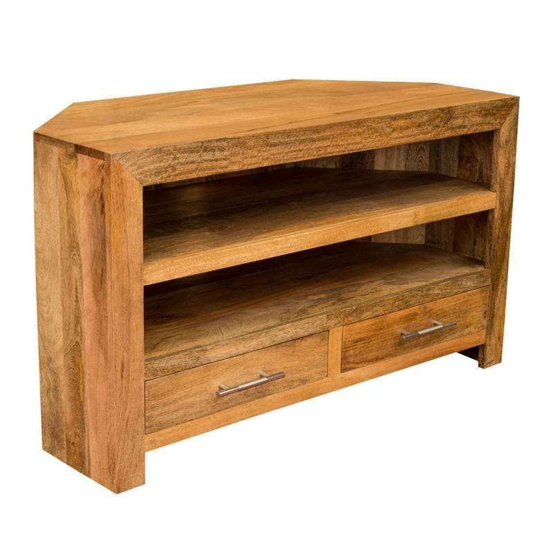 Ambala Cube Light Mango Wood Corner Tv & Dvd Unit – Solid Indian Inside Recent Wooden Corner Tv Units (Image 2 of 20)