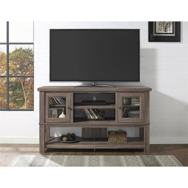 Ameriwood Home Everett 70 Inch Sonoma Oak Tv Stand With Glass With Regard To Most Up To Date Oak Tv Stands With Glass Doors (View 14 of 20)