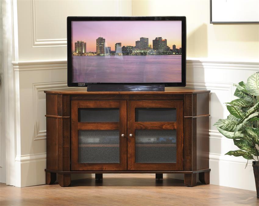 Amish Arlington Corner Tv Stand Intended For Most Current Wood Corner Tv Cabinets (Image 1 of 20)