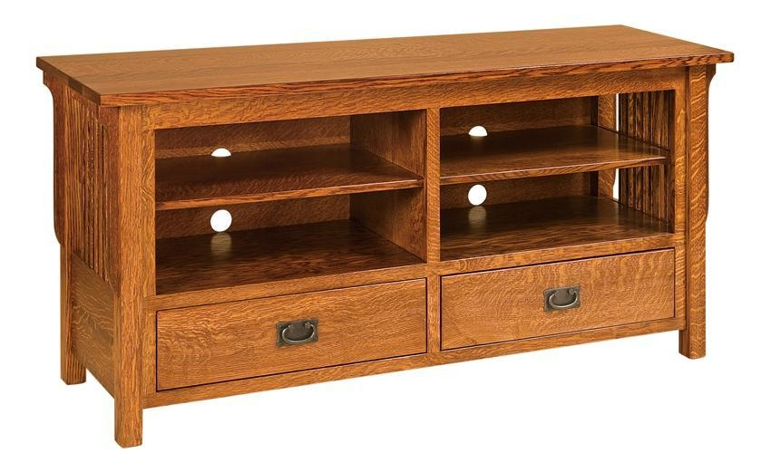 Amish Lancaster Mission Tv Stand Open With Most Popular Wooden Tv Stands With Doors (Image 4 of 20)
