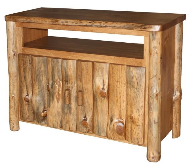 Amish Pine Log Furniture Tv Stand Pertaining To Current Rustic Pine Tv Cabinets (Image 4 of 20)