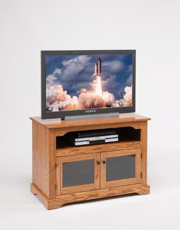 Amish Tv Stand With Glass Doors Pertaining To Most Popular Oak Tv Stands With Glass Doors (Image 3 of 20)