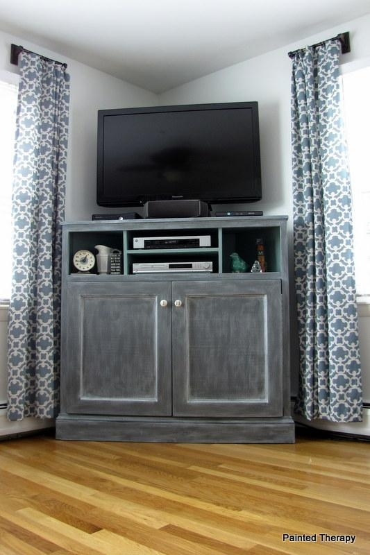 Ana White | Tall Corner Media Console – Diy Projects Pertaining To Most Recent Tv Stands Corner Units (View 16 of 20)
