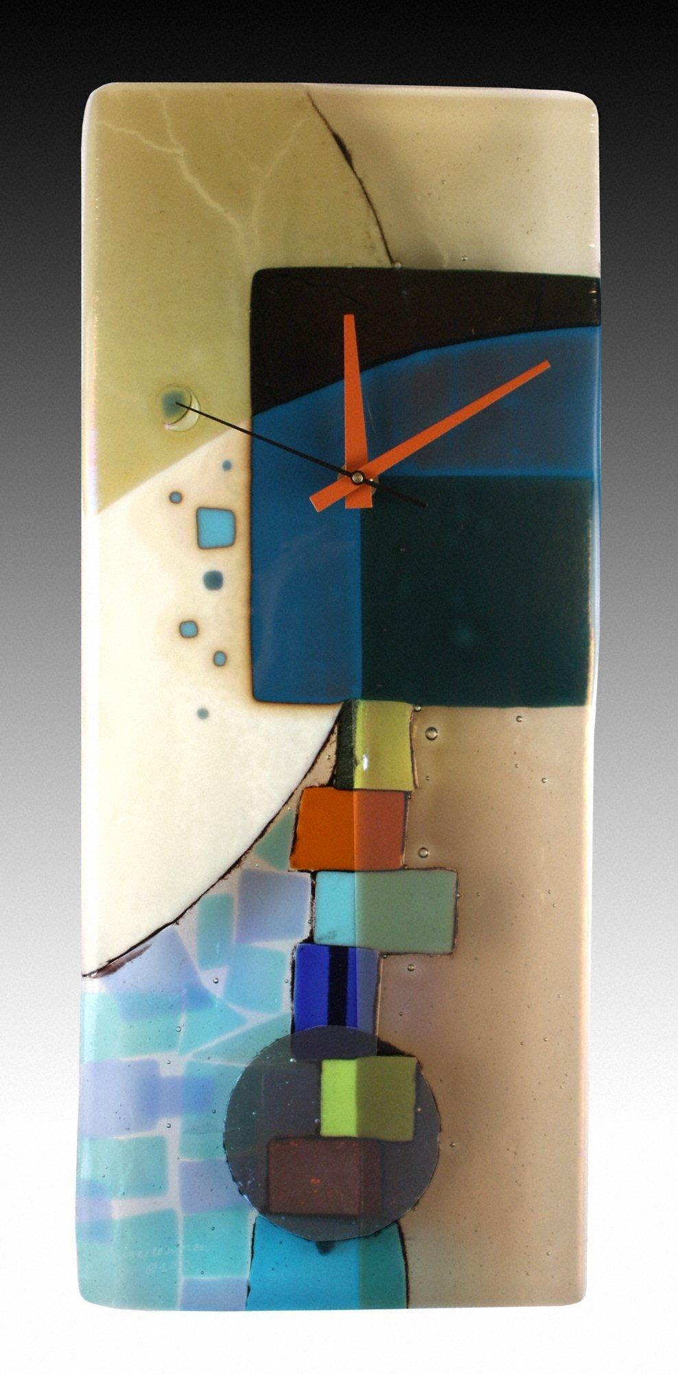 Andrea Fused Glass Pendulum Clocknina Cambron (Art Glass Clock Throughout Fused Glass Wall Art For Sale (View 13 of 20)
