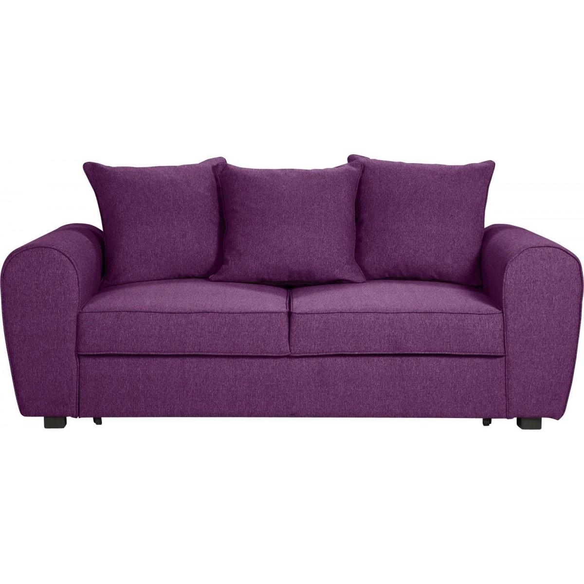 Anne Fabric Sofa Bed – Aubergine – Furnico Village Intended For Cushion Sofa Beds (Image 2 of 23)