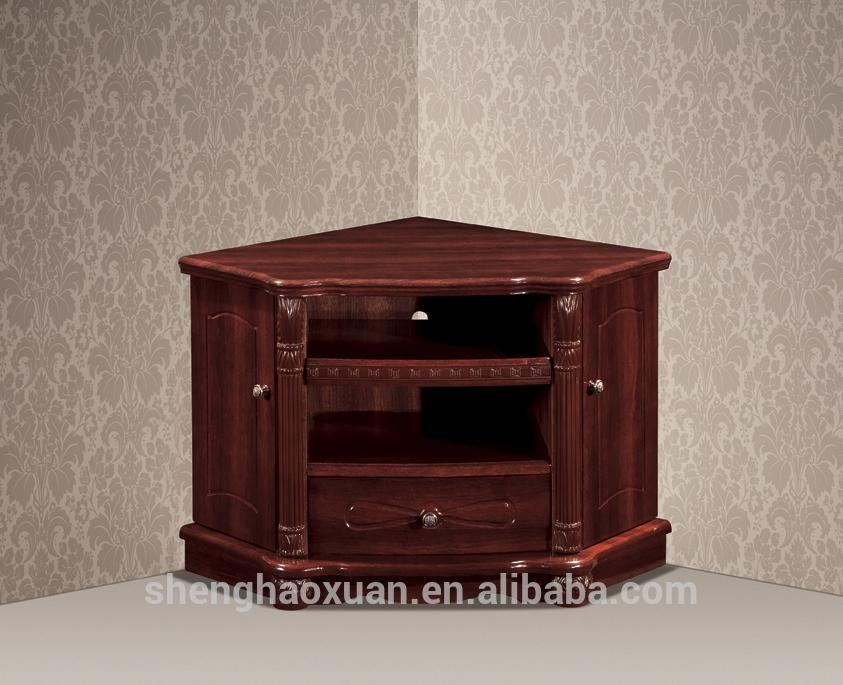 Antique Home Furniture Corner Tv Stands Wood Led Tv Table Design Inside Latest Corner Wooden Tv Stands (Image 3 of 20)