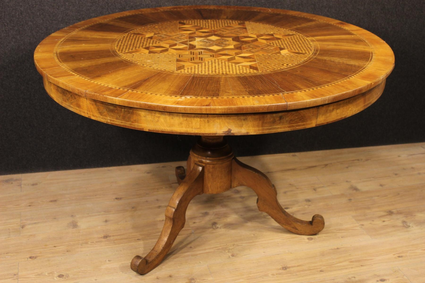 Antique Italian Carved Table With Inlaid Wood For Sale At Pamono With Regard To Italian Inlaid Wood Wall Art (Image 6 of 20)