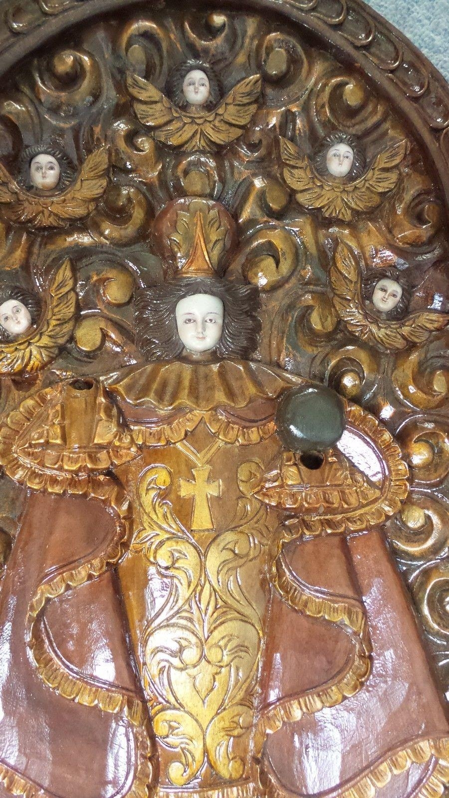 Antique Wood Carved Religious Icon Rare Hand Made Italian Wall Art Pertaining To Italian Wood Wall Art (Image 2 of 20)