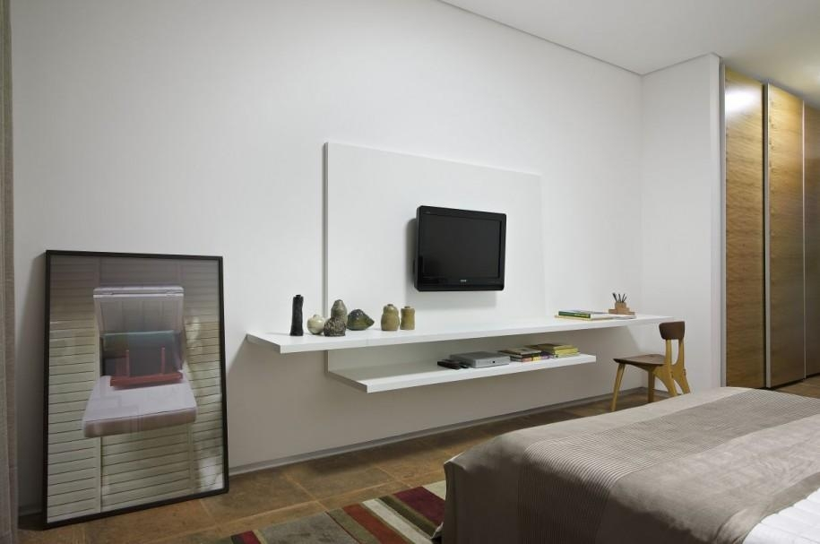 Apartments: Charming Interior Bedroom Design With White Wall Within Most Recently Released White Wall Mounted Tv Stands (Image 3 of 20)