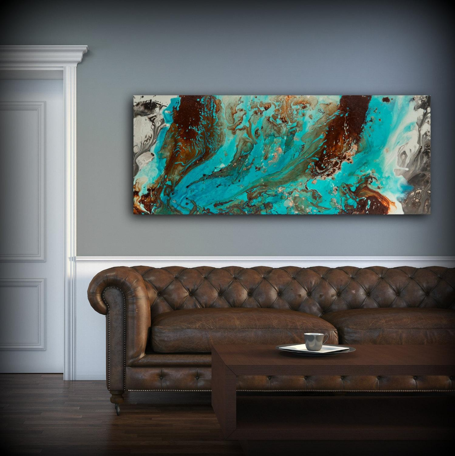 Aqua Print, Blue And Brown Wall Art Decor, Colourful, Bohemian Art Intended For Brown And Turquoise Wall Art (Image 1 of 20)