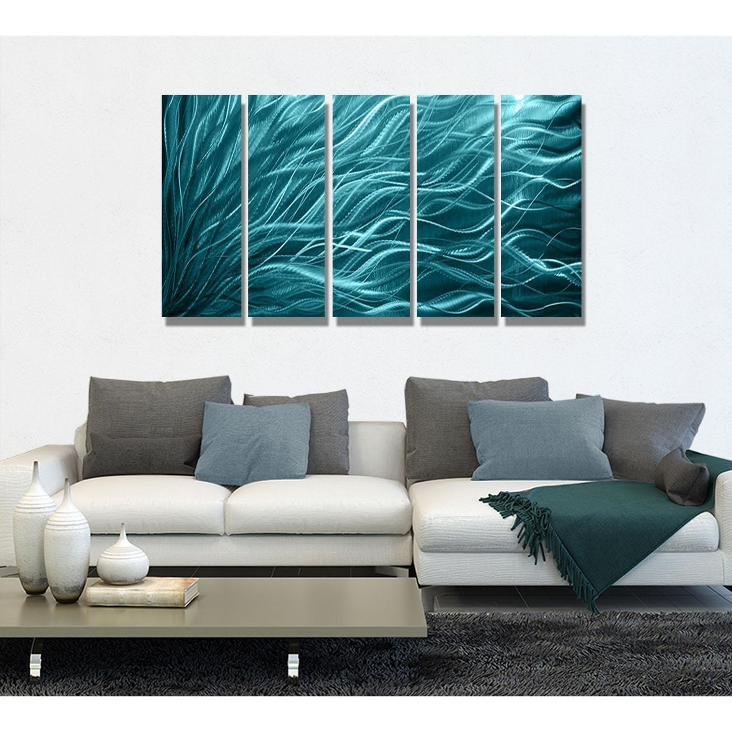 Aqua Sea Grass – Aqua Blue Metal Wall Art – 5 Panel Wall Décor In Teal Metal Wall Art (Image 1 of 20)