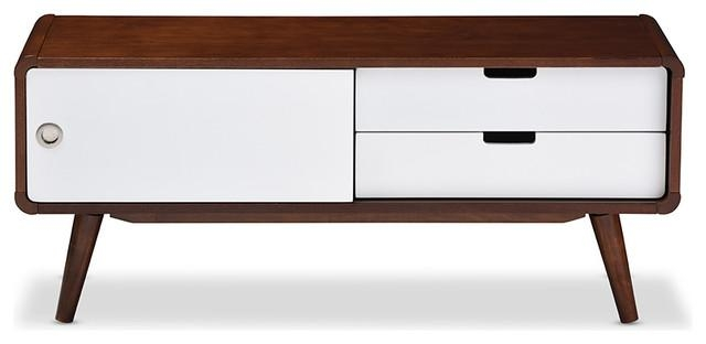 Armani Sliding Door Wood Tv Cabinet, White And Brown – Midcentury Inside Most Popular White And Wood Tv Stands (View 6 of 20)