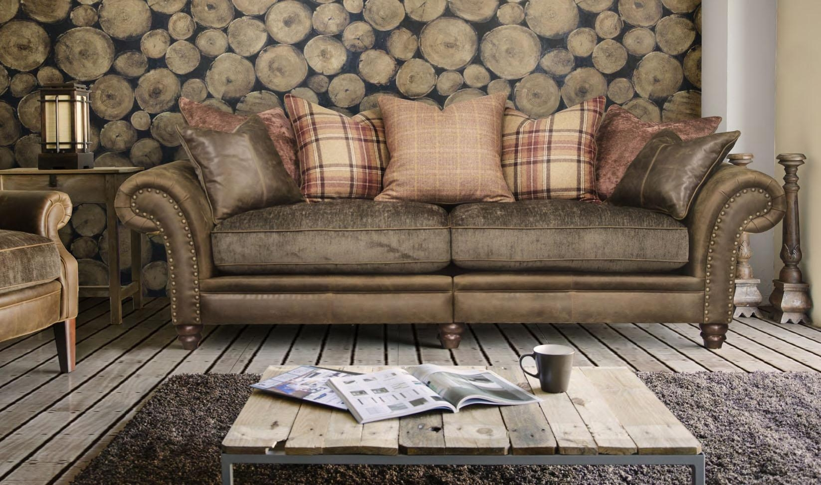 Armchairs Dark Wood Solid Neutral Sofa Accent Botanical Contrast Intended For Leather And Material Sofas (Image 2 of 21)