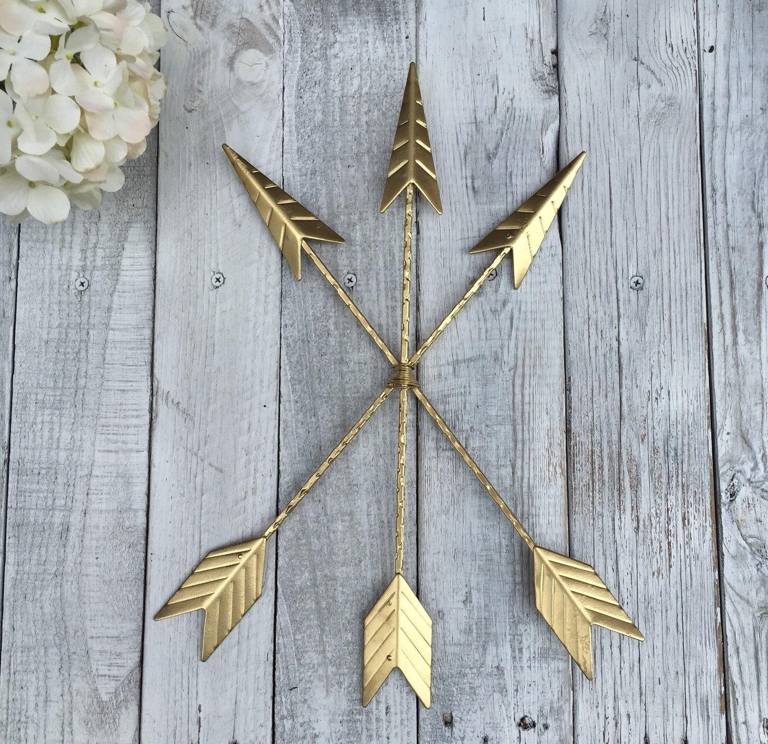 Arrow Wall Hanging/gold/arrow Gallery Wall/gold Home Throughout Teal And Gold Wall Art (View 11 of 20)