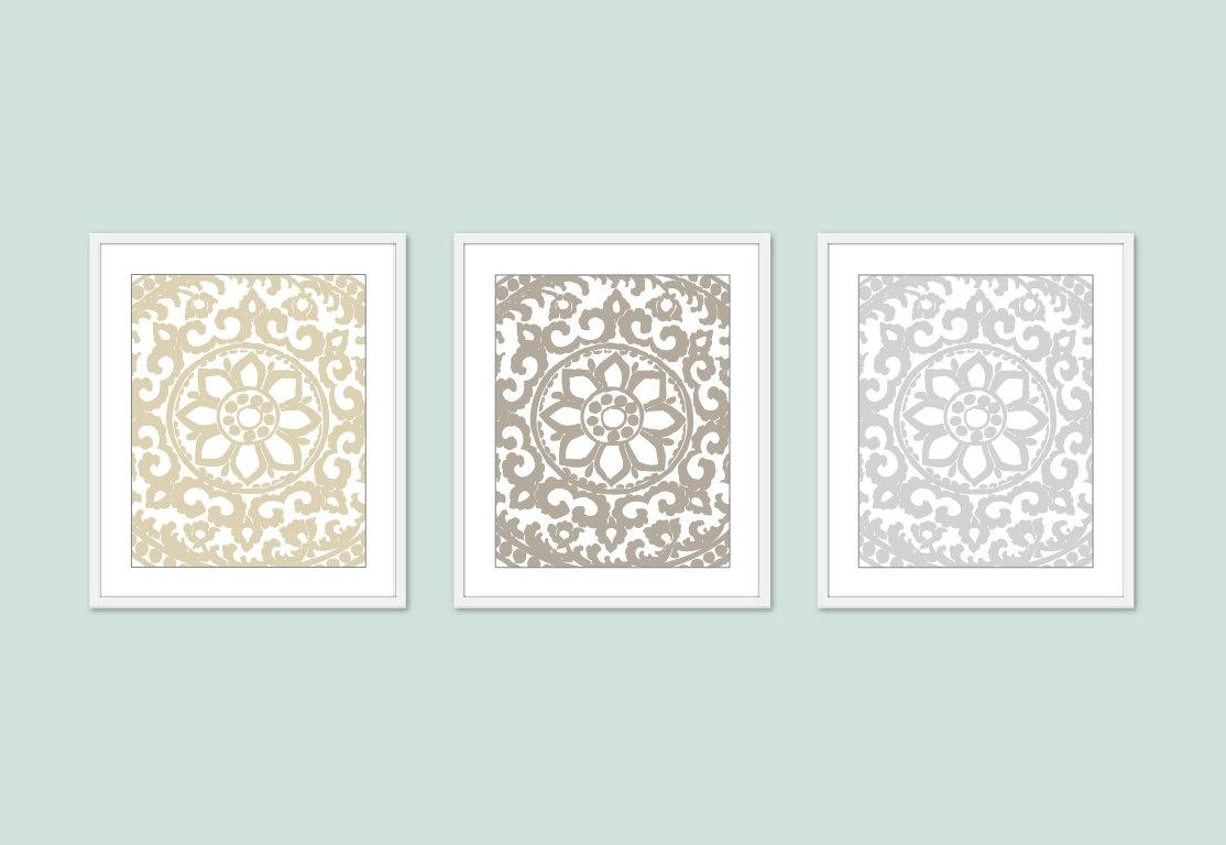 Art Deco Prints Flower Ornament Wall Art Set Of 3 Within White Medallion Wall Art (Image 1 of 20)