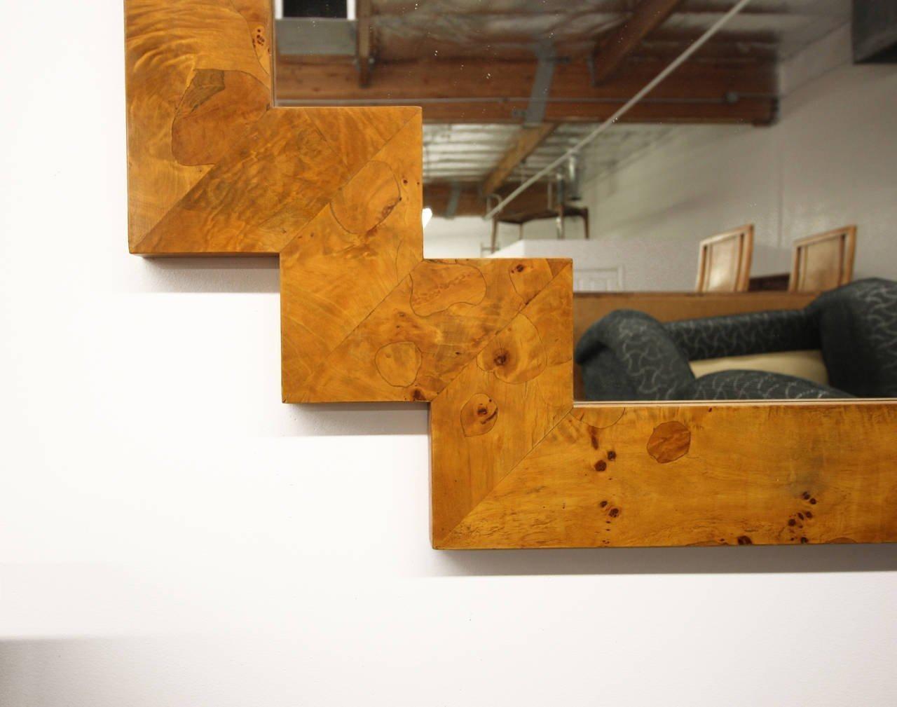 Art Deco Style Geometric Italian Burl Wood Wall Mirror At 1Stdibs In Italian Inlaid Wood Wall Art (View 12 of 20)