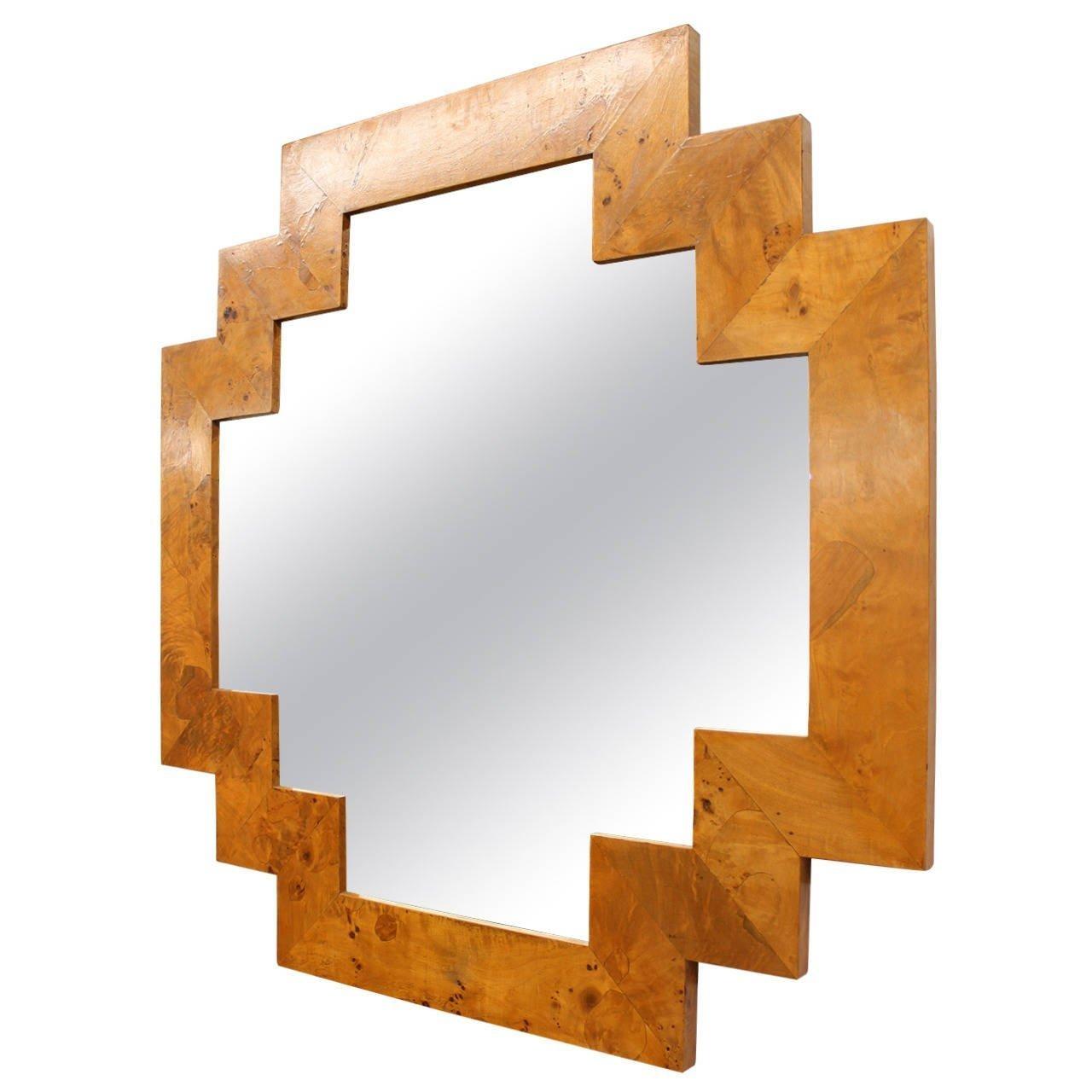 Art Deco Style Geometric Italian Burl Wood Wall Mirror At 1Stdibs Regarding Italian Inlaid Wood Wall Art (View 17 of 20)