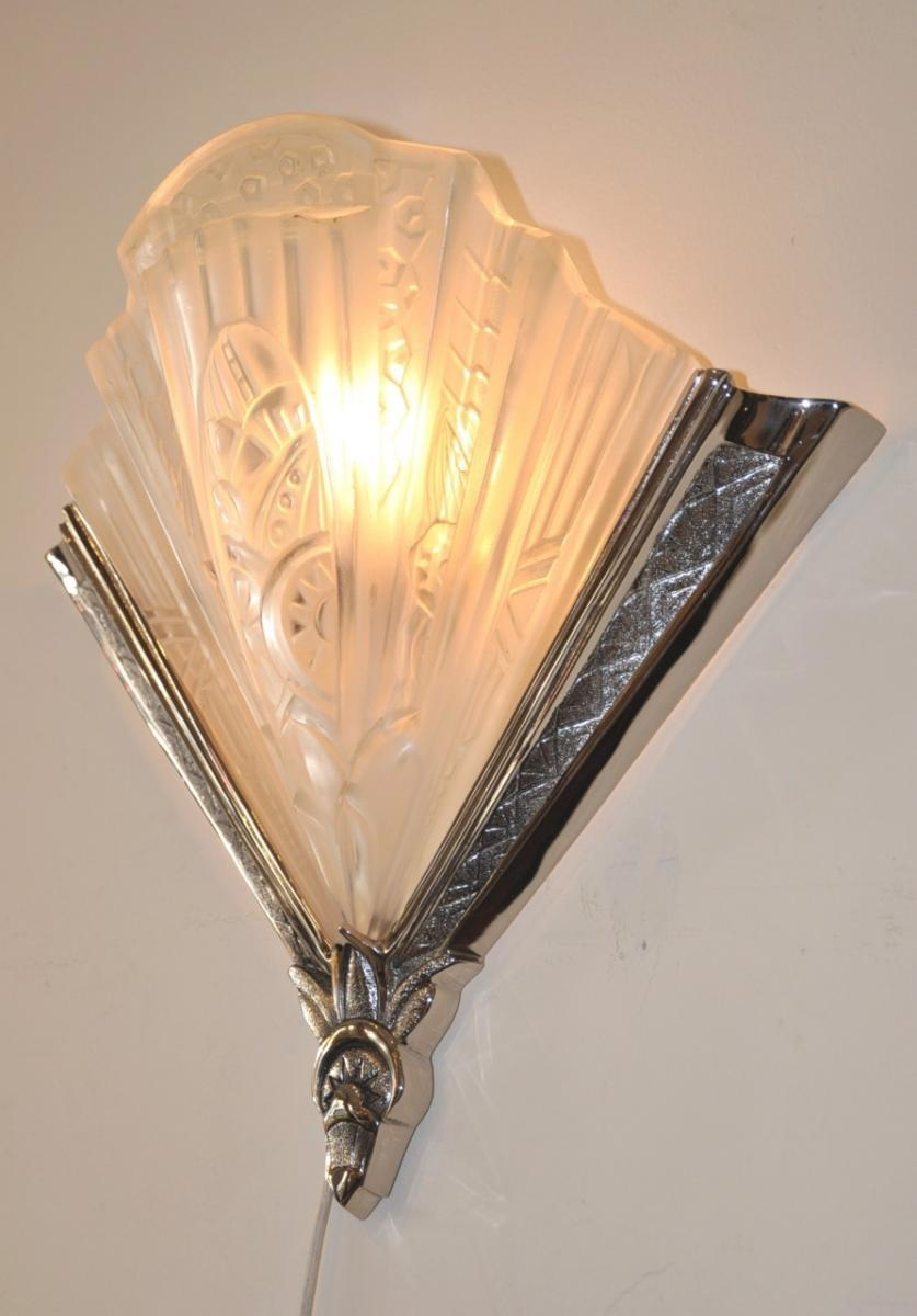 Art Deco Wall Lampsfrontisi, 1930S, Set Of 2 For Sale At Pamono Inside Glass Wall Art For Sale (Image 2 of 20)