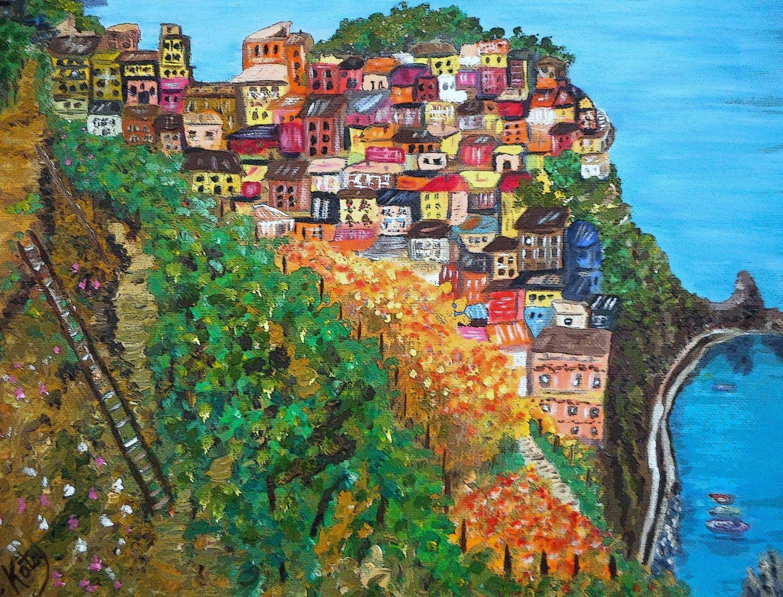 Art Prints Cinque Terres Impressionism Wall Art Printable Regarding Italian Village Wall Art (View 2 of 20)