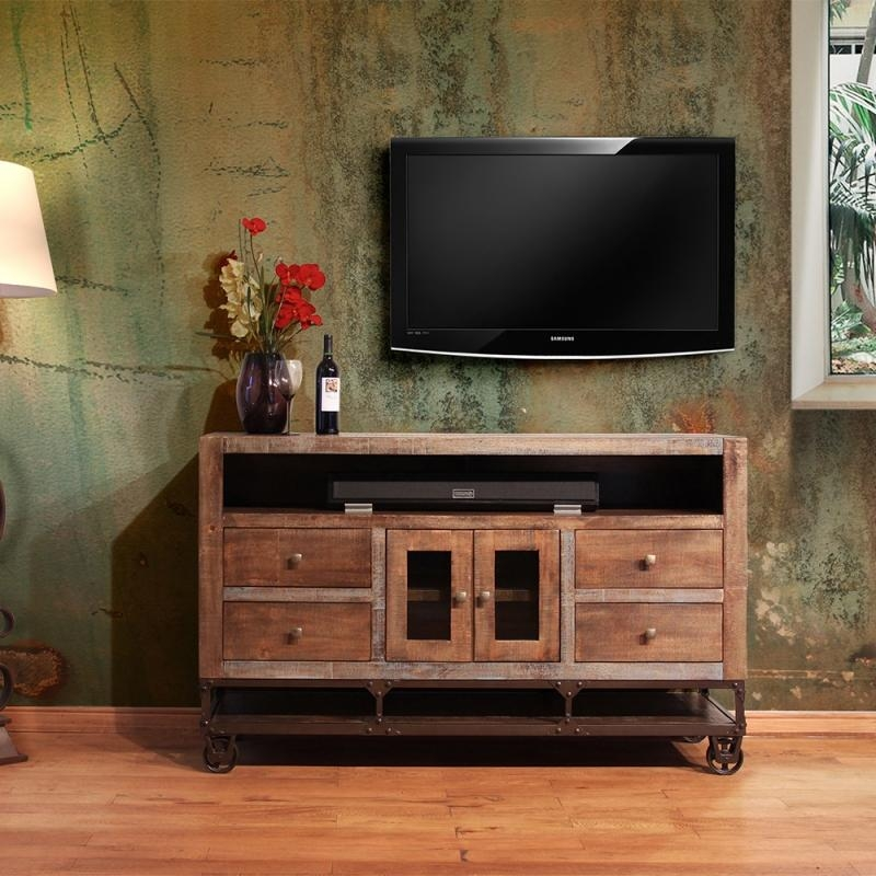 "Artisan Urban Gold Ifd560 62"" Industrial Style Tv Console With Latest Industrial Style Tv Stands (Image 2 of 20)"