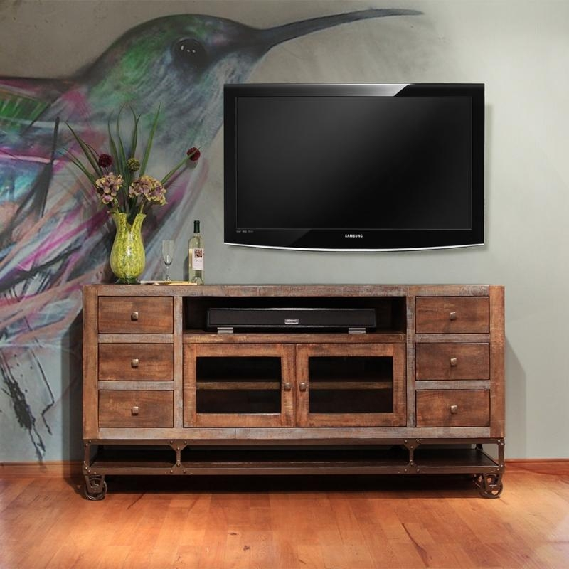 "Artisan Urban Gold Ifd560 76"" Industrial Style Tv Console Intended For Most Popular Industrial Style Tv Stands (Image 3 of 20)"