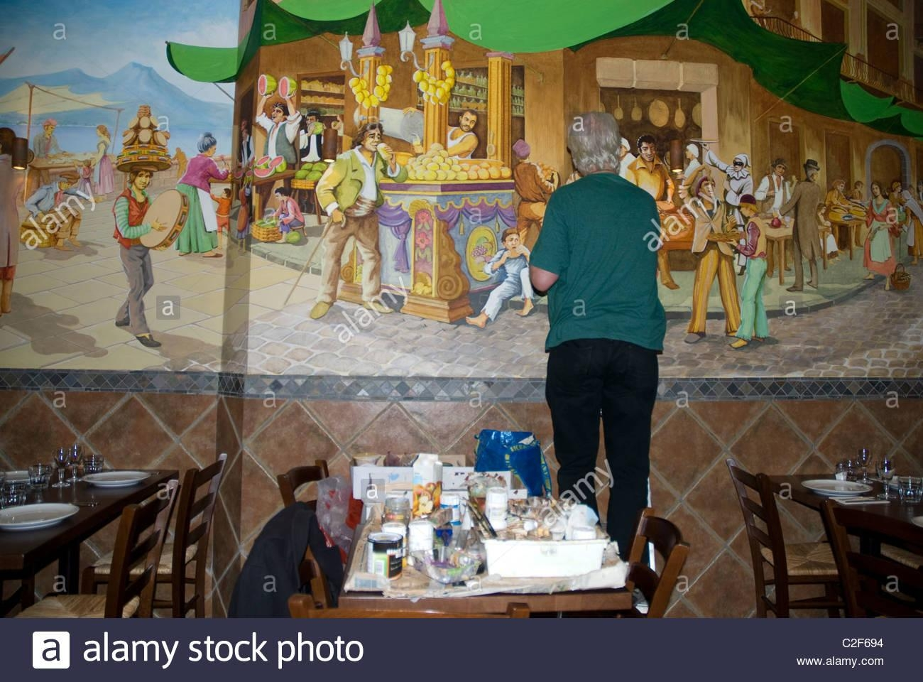 Artist Painting Mural On The Wall Of An Italian Restaurant Notting With Regard To Italian Art Wall Murals (Image 4 of 20)