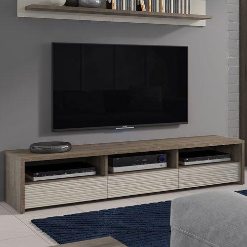 Aspen 3 Drawer Wide Tv Stand (Inc Led Lighting) In Riviera Oak With Most Up To Date Wide Tv Cabinets (Image 2 of 20)