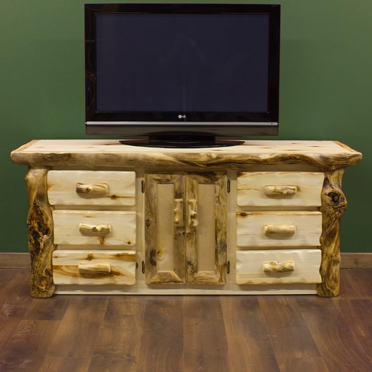 Aspen Log Widescreen Tv Standsignature Log Furniture | Aspen For Latest Wide Screen Tv Stands (Image 4 of 20)