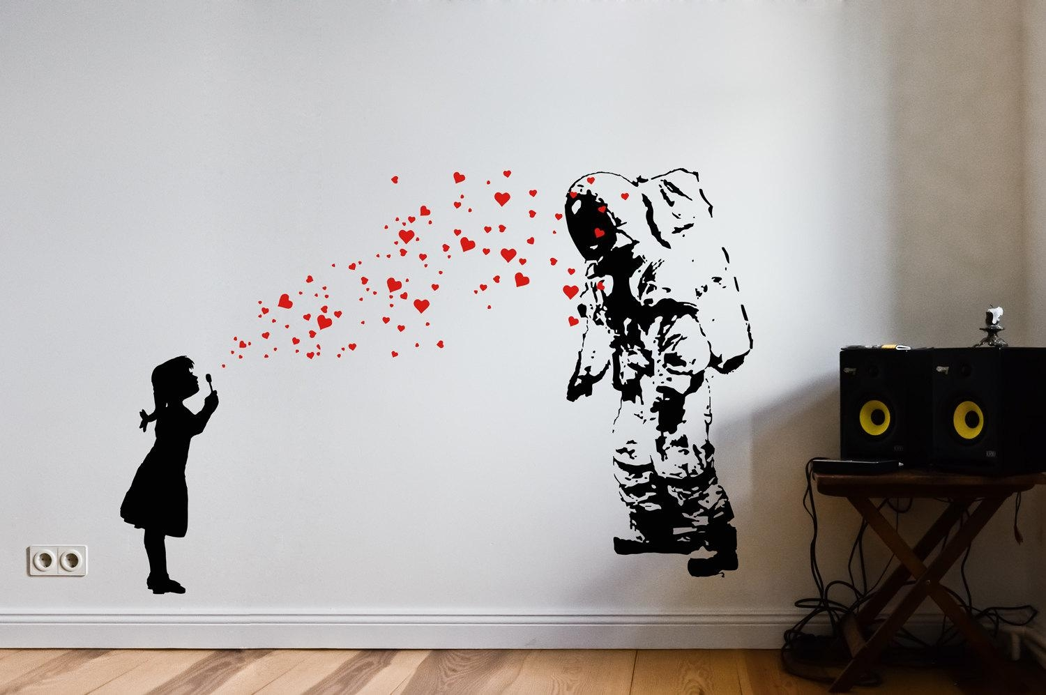 Astronaut Heart Bubble Love Wall Art Decal Street Art Banksy For Street Wall Art Decals (Image 4 of 20)