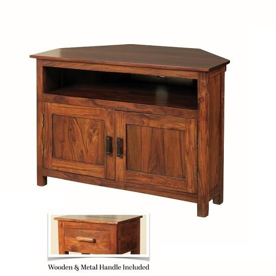 Athens Corner Tv Stand In Solid Shesham Wood 27897 within Best and Newest Solid Wood Corner Tv Cabinets