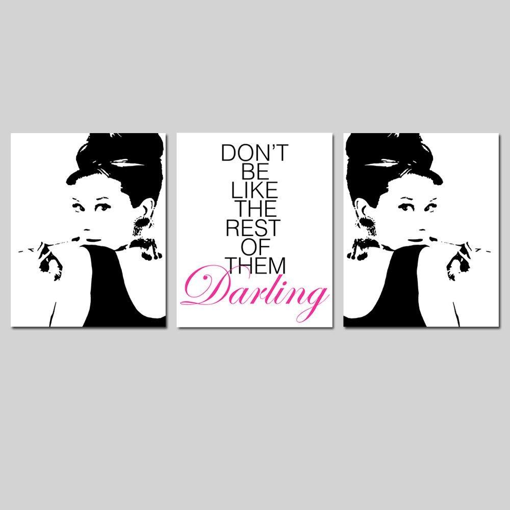 Audrey Hepburn Art Set Of Three 8X10 Prints Audrey Intended For Glamorous Audrey  Hepburn Wall Art