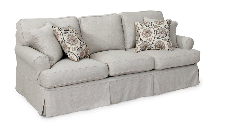 August Grove Callie T Cushion Sofa Slipcover Set & Reviews | Wayfair In Cushion Sofa Beds (View 10 of 23)