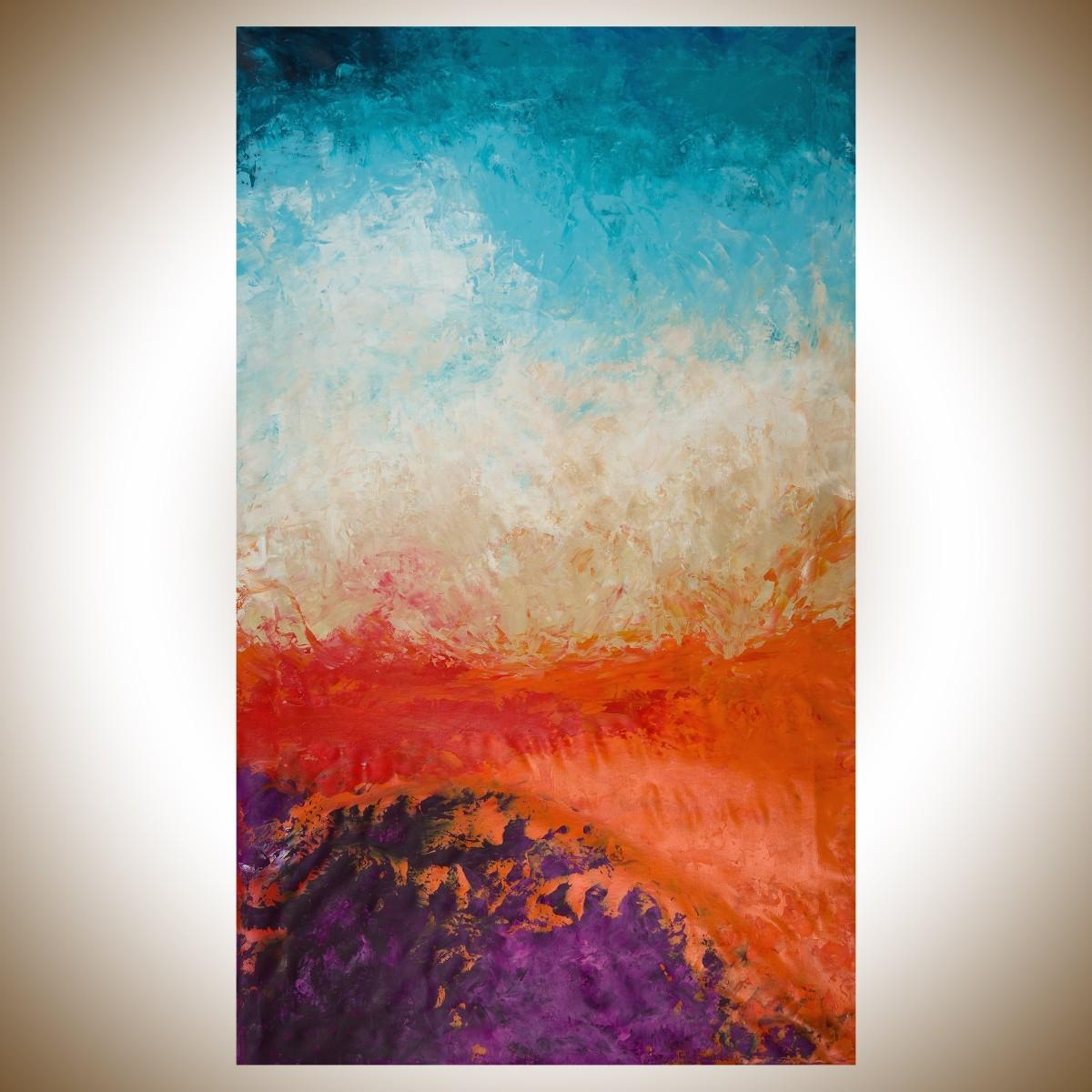 """Autumn Harvestqiqigallery 60""""x36"""" Un Stretched Canvas Original Inside Orange And Blue Wall Art (Image 6 of 20)"""