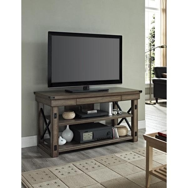 Avenue Greene Woodgate Wood Veneer Tv Stand For Up To 50 Inch Tvs Within Current Metal And Wood Tv Stands (View 14 of 20)