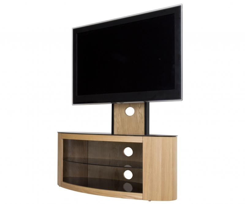 Avf Buckingham Oak Cantilever Tv Stand For Up To 55 With Most Current Cantilever Tv (Image 1 of 20)