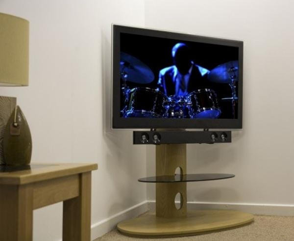 "Avf Chepstow Corner Cantilever Tv Stand Wood For 32"" To 65"" Led With Regard To Recent Cantilever Tv (Image 2 of 20)"