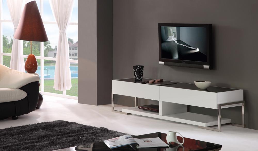 B Modern Agent Tv Stand | White High Gloss / Black Glass Top, B Regarding Current B Modern Tv Stands (Image 2 of 20)