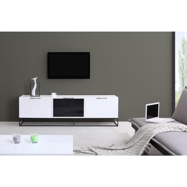 B Modern Animator High Gloss White/ Black Modern Ir Tv Stand Intended For Recent Gloss Tv Stands (Image 3 of 20)